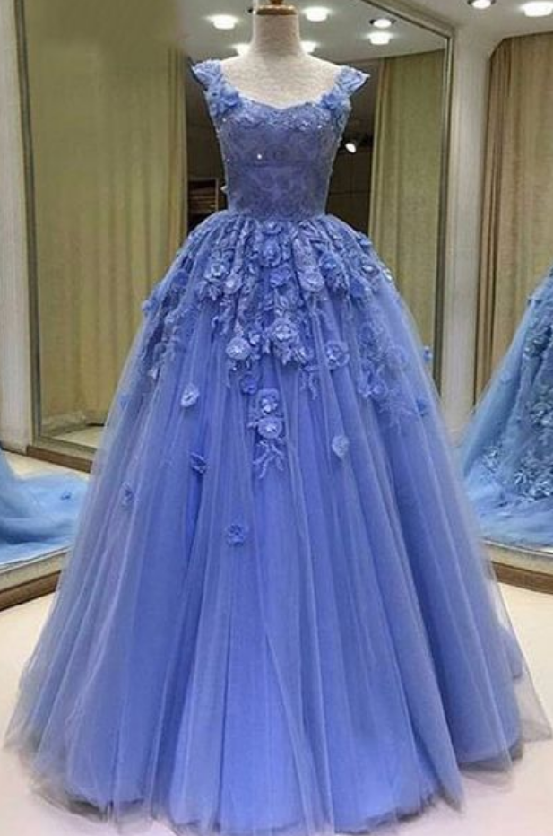 Blue tulle sweetheart prom dresses, 3D lace appliques evening dress, floor length evening dress