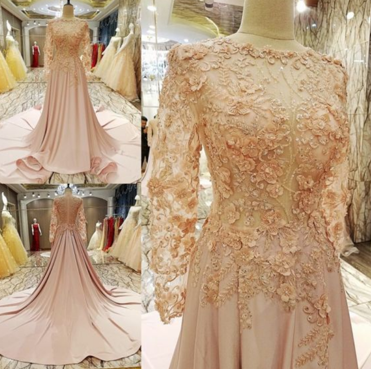 Pink Prom Dress Brush Train, Long Sleeve ,Lace Popular Prom Dress/Evening Dress