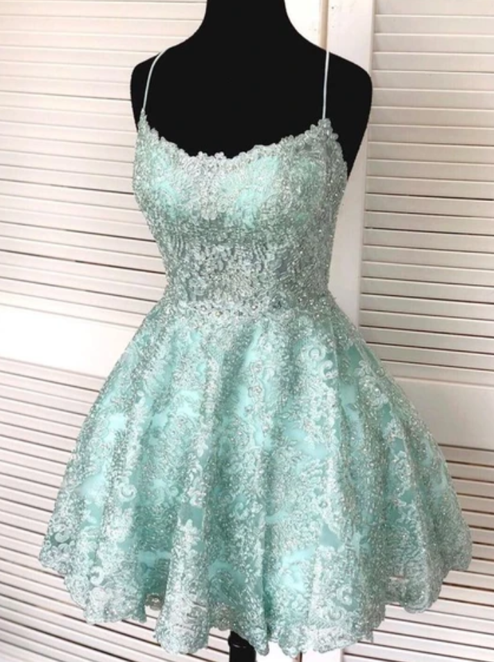 Spark Queen green sleeveless a-line v-neck spaghetti-straps mini evening dresses party dresses tulle applique beaded lace homecoming dress