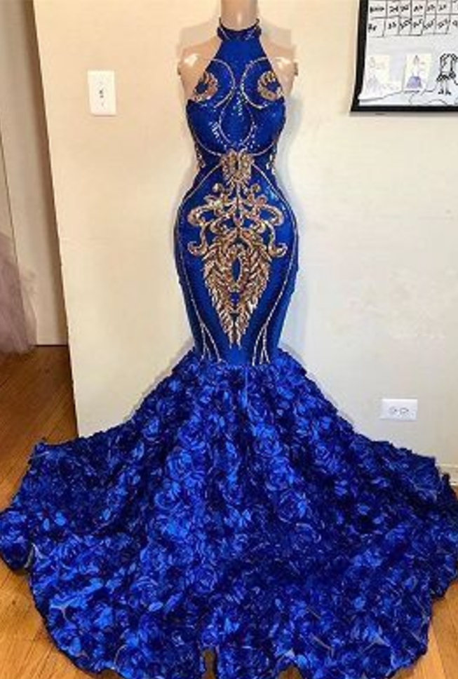 Royal Blue Halter Mermaid Prom Dresses | Gorgeous Sleeveless Flowers Long Evening Gowns