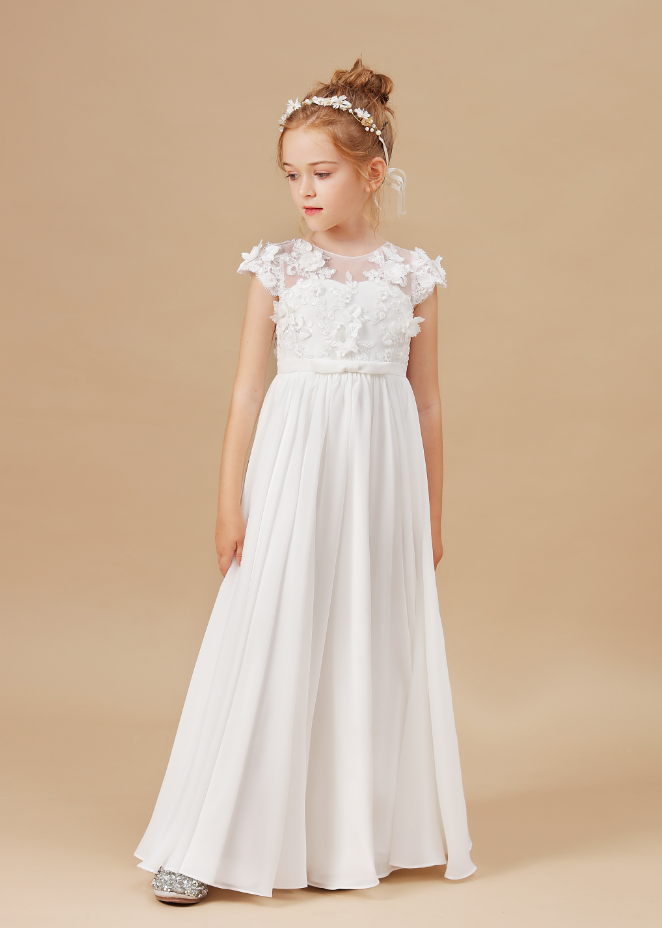 flower girl dresses,Applique Sleeveless Kids Birthday Party Pageant Gowns Weddings First Communion Elegant Dresses 2-14T