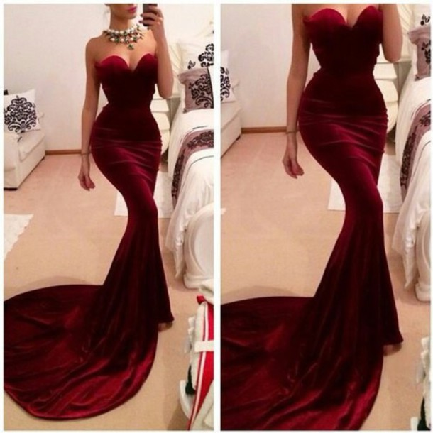 New Arrival Sexy Burgundy Prom Dresses Mermaid Evening Dresses Sweetheart Sheath Prom Dresses Long Party Dresses Cheap Prom Gowns