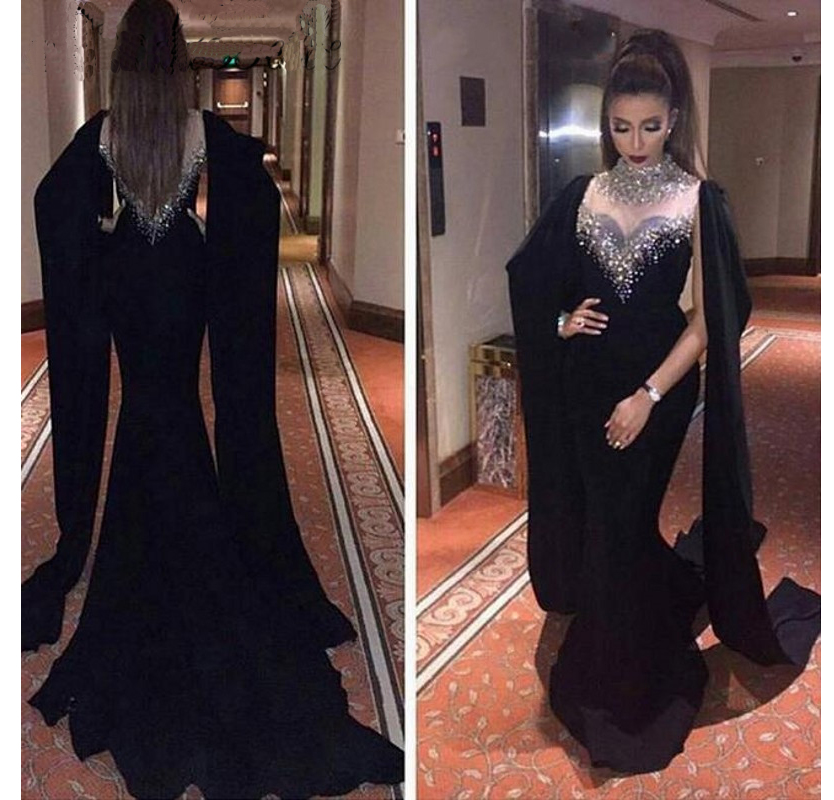 Evening Dresses,Fantastic Evening Dresses,2016 Long Beaded Black Evening Dresses,Sexy Evening Dresses,Latest Evening Gown