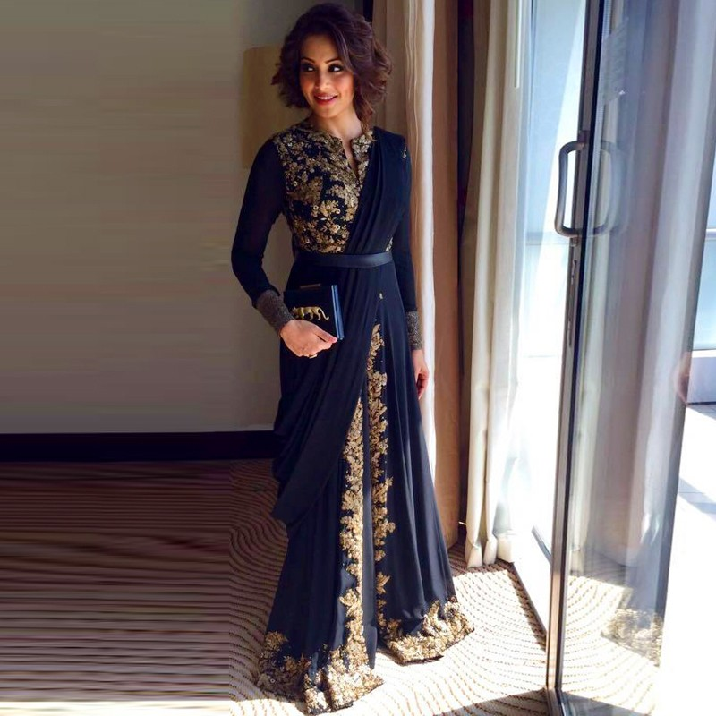 640546cacd Kaftan Evening Dress Long Sleeve Dubai Evening Dress Appliques Evening  Dress Navy Blue Party Dress Sequined Arabic Dress