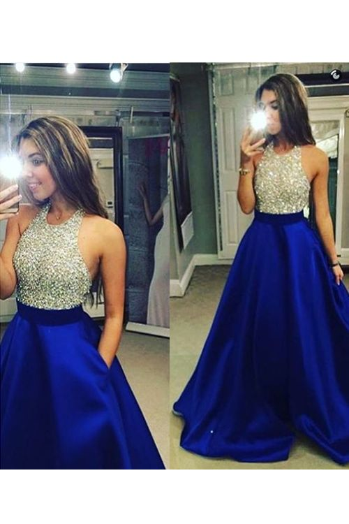 Royal Blue A Line Satin Evening Dresses Crew Neck Beading Crystals Bodice Prom  Dresses Elegant Party Gowns Formal Dress Vestidos b7aad9cd6f53