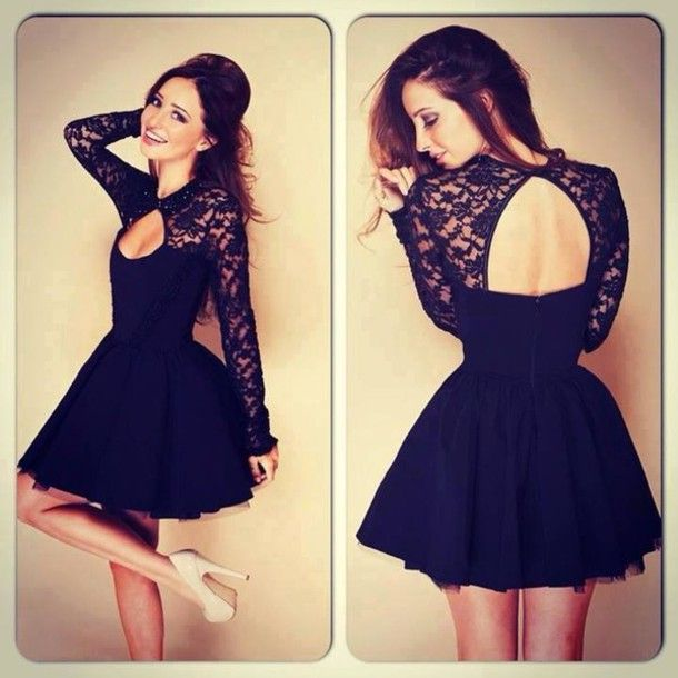 Black Lace Homecoming Dresses Short Semi