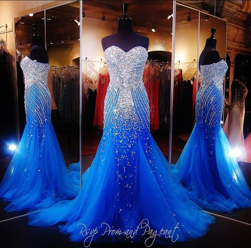Luxury Blue Mermaid Prom Pageant Dress With Sweetheart Sleeveless ...