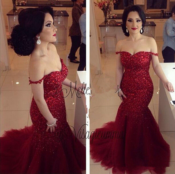 Luxury Crystal Mermaid Celeberity Evening Dress Prom Dresses Gowns