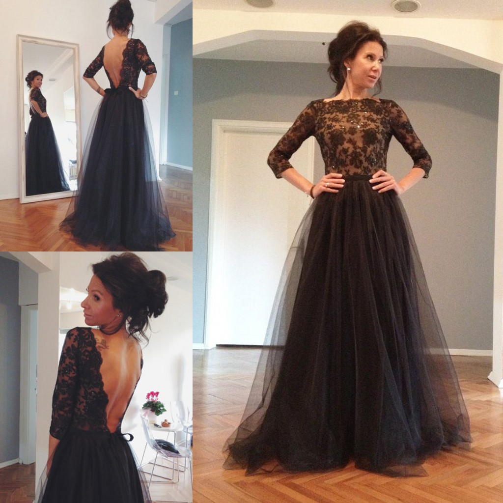 92ea76d3a50 Hot Sale Tulle Long Sleeve Black Lace Evening Gowns Dresses Sexy A Line  Open Back Prom Formal Gowns Women Dresses
