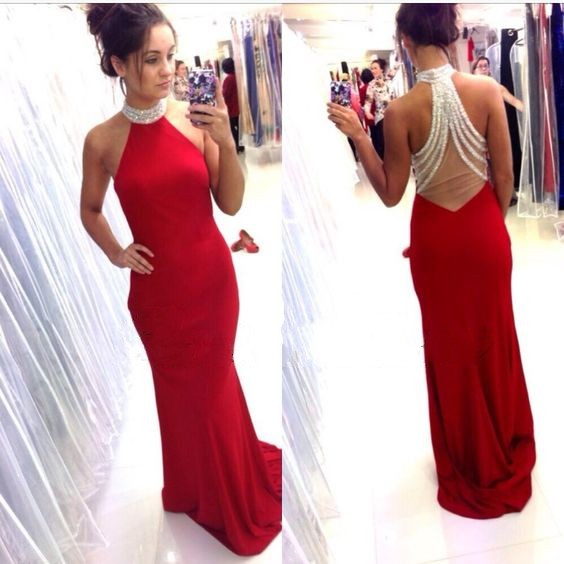 Open Back Red Mermaid Prom Dress,Halter Neckline Red Prom Gown,Backless Graduation Dress,Sexy Open Back Red Formal Party Dress