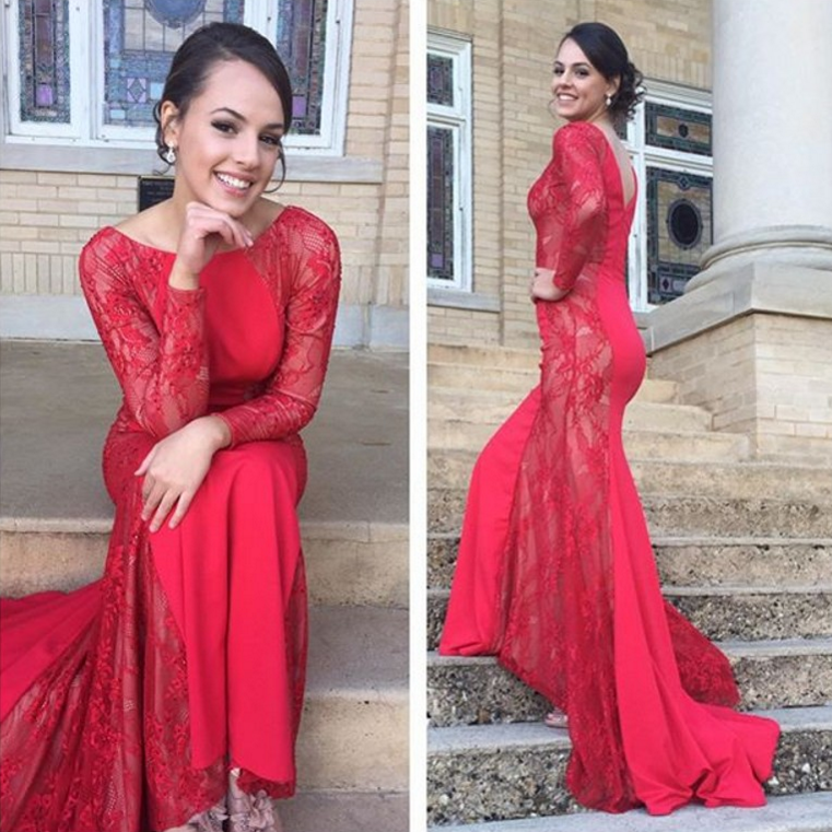 Red Prom Dresses,Lace Prom Dress,Sexy Prom Dress,Long Sleeves Prom Dresses,Charming Formal Gown,Backless Evening Gowns,Open Back Party Dress,Sexy Prom Gown For Teens