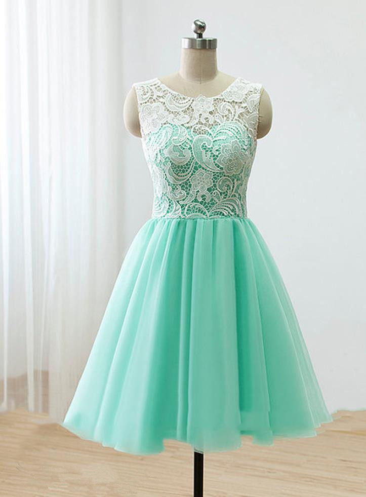fc1144185d Lovely Handmade Short Mint Chiffon Prom Dress With Lace, Homecoming ...