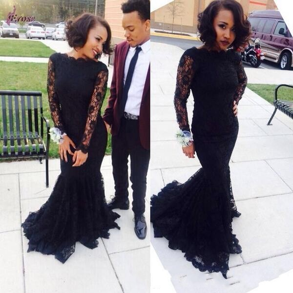 New Sexy 2017 Long Black Lace Mermaid Prom Dresses Long Sleeves