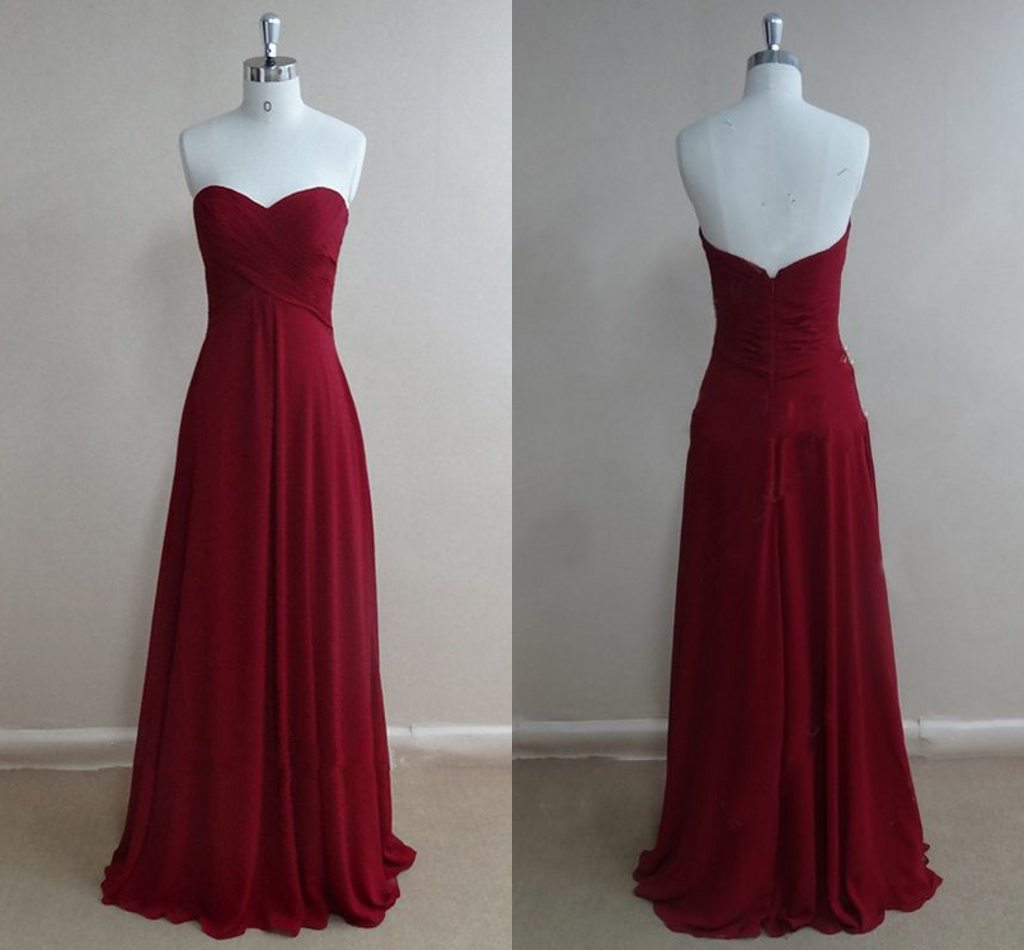 Cheap Simple Long Prom Dresses, Burgundy Prom Dress Long, Chiffon Prom Dress, Red Prom Dress, Formal Dress
