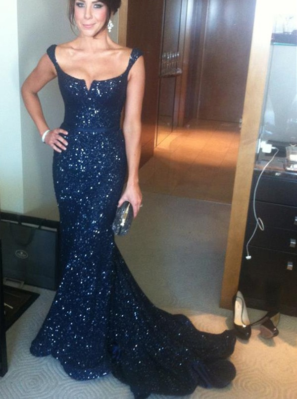 Navy Blue Prom Dressessequin Evening Dresssequined Prom Gowns