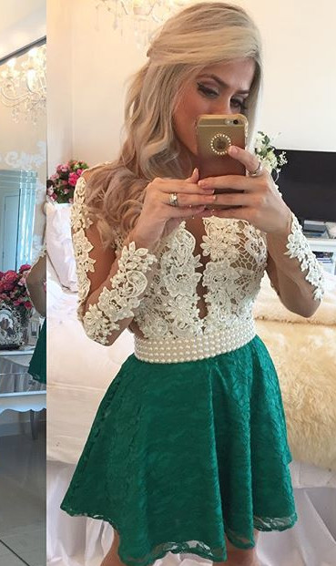 bff8a5c22d44 Charming Emerald Green Prom Dress, Short Homecoming Dress, Long Sleeves Homecoming  Dress, Lace Homecoming Dress, Homecoming Dresses, Deep V Neck Sheer Tulle  ...