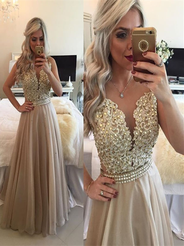 A Line Round Neck Sleeveless Long Champagne Prom Dress 9078389ab24