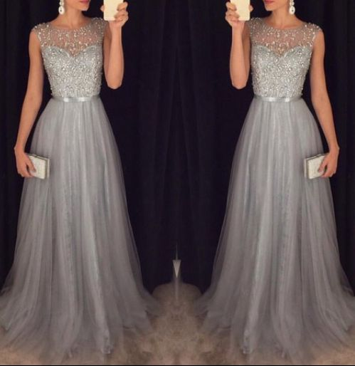 Stunning Grey Round Neckline Beading Tulle Prom Dresses,Evening Dresses, Beading Prom Dresses, Real Prom Dress, Long Dress for Prom
