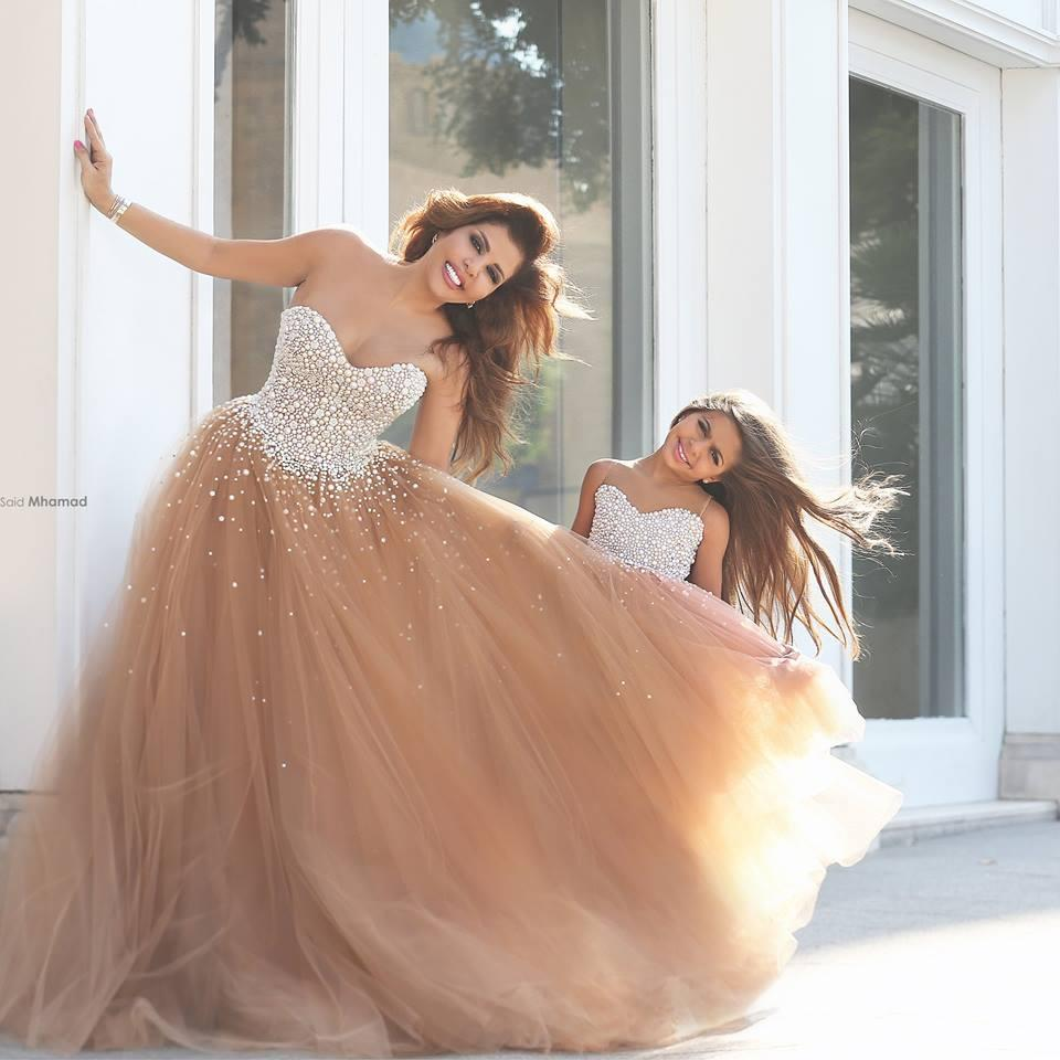 Said mhamad dresses pearls sweetheart a line prom dresses for Mother daughter dresses for weddings
