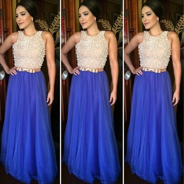 Tulle Prom Dresses,Royal Blue Prom Dress,Modest Prom Gown,Prom Gowns,Beading Evening Dress,Princess Evening Gowns,Sparkly Party Gowns