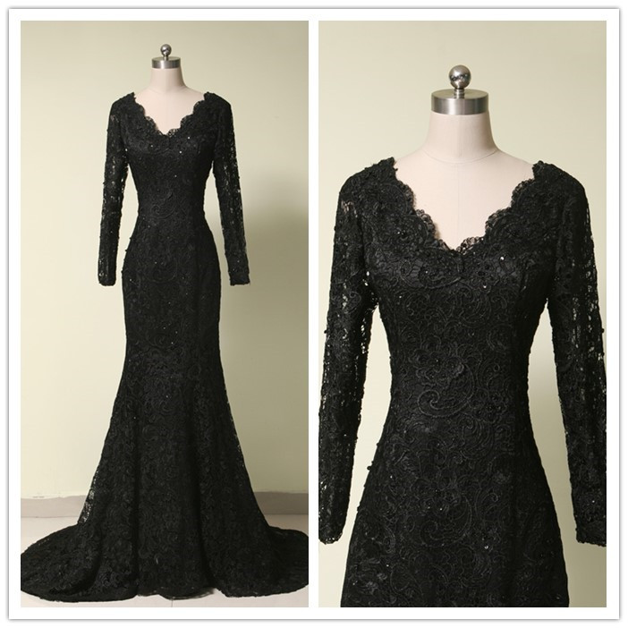 Hot Sale Black Lace Prom Dress  7aa10d442