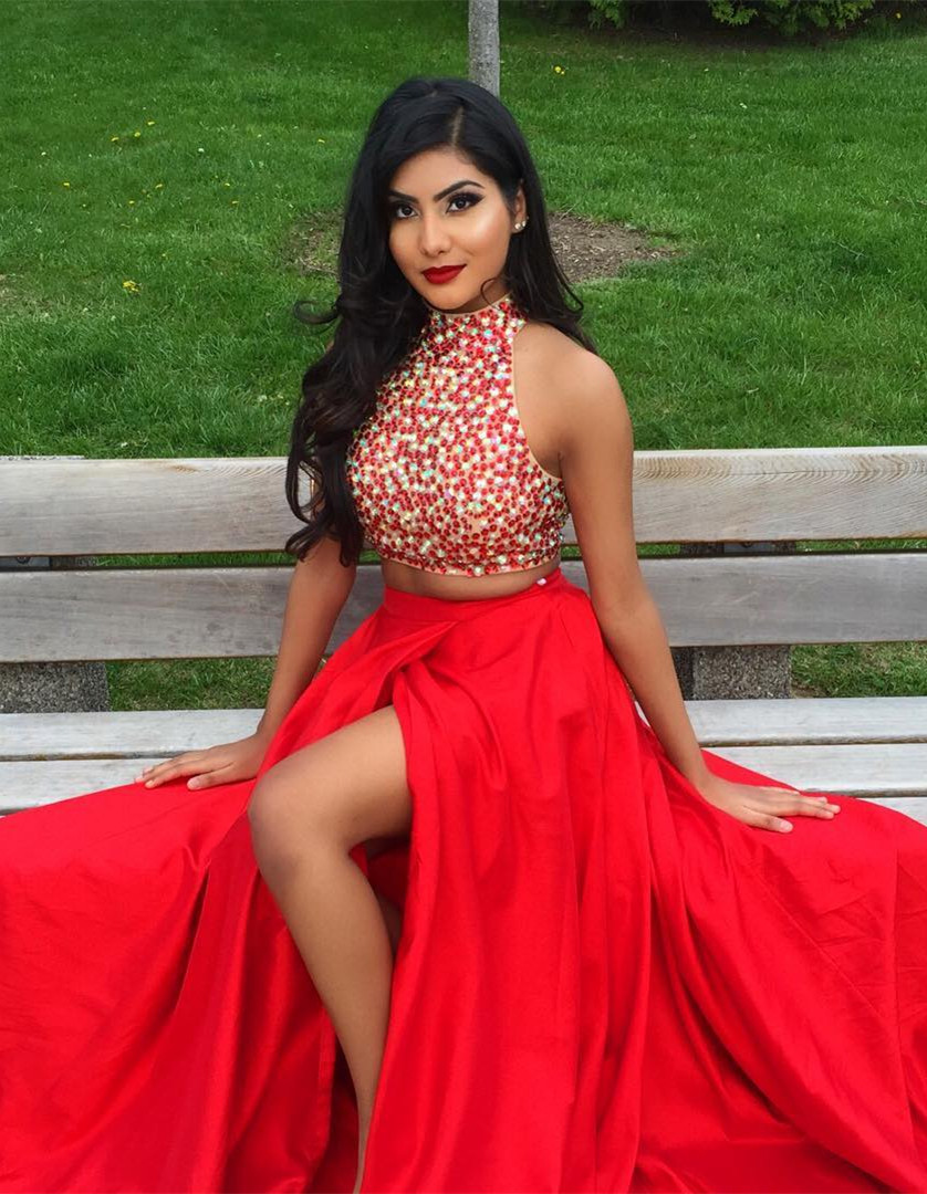 Red Prom Dresses,2 Piece Prom Gown,Two Piece Prom Dresses,Satin Prom ...