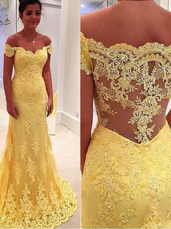 dea83812ff7 Elegant Mermaid Yellow Lace Off Shoulder Long Prom Dress on Luulla