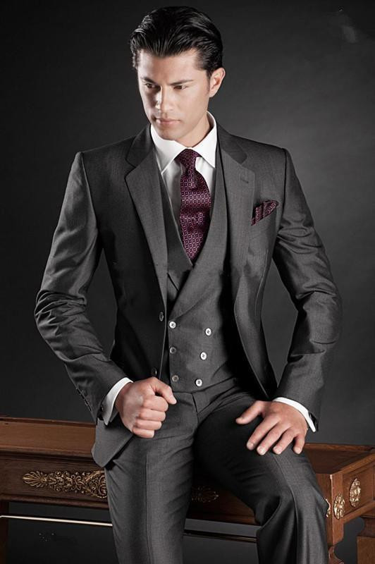 025cd83363a New Slim Fit Men Groom Suit Tuxedos Formal Groomsmen Wedding Suits Custom  Made Jackets+Vest+Pants