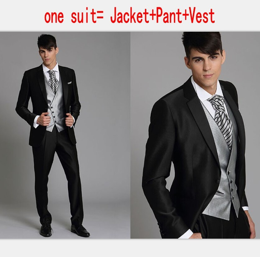 Korea-Satin Bright Silver With Black Brim Man Groom Tuxedos Wedding ...
