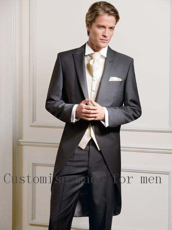 Custom Made Measure Tailcoat Groom Wedding Tuxedos For Men Morning Suits For Best Man Groom Suit One Button Wedding Suits Party