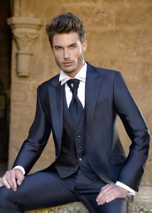 Fashion Mens Dinner Party Prom Navy Blue Suits Groom Tuxedos ...