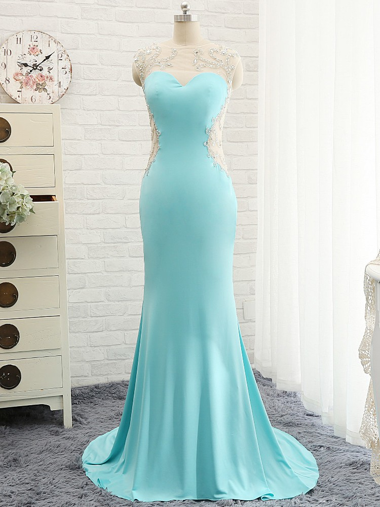 Modest Prom Dresses,Sexy New Prom Dress,Goregeous Blue Crystal Summer Prom Dresses Mermaid Long Open Back Evening Gowns