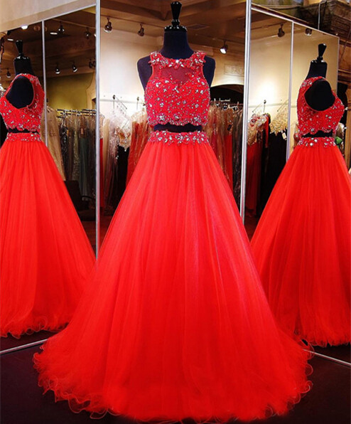 2 Piece Prom Gown,Two Piece Prom Dresses,Red Evening Gowns,2 Pieces Party Dresses,Tulle Evening Gowns,Sparkle Formal Dress,Bling Formal Gowns For Teens