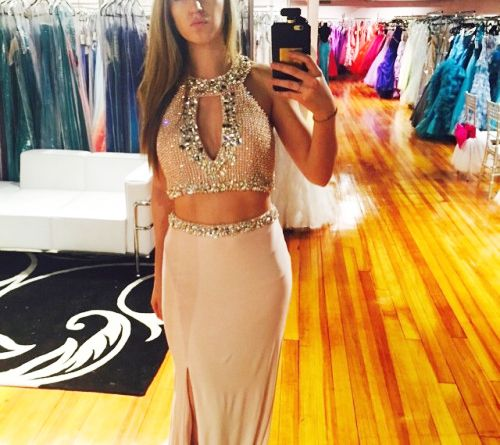 long prom dress,elegant 2 pieces long prom gown,slit graduation dress,sparkle formal dress