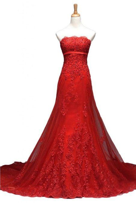 Red Lace Prom Dress,Applique Prom Dress,Bodycon Prom Dress,Fashion Prom Dress,Sexy Party Dress, 2017 New Evening Dress