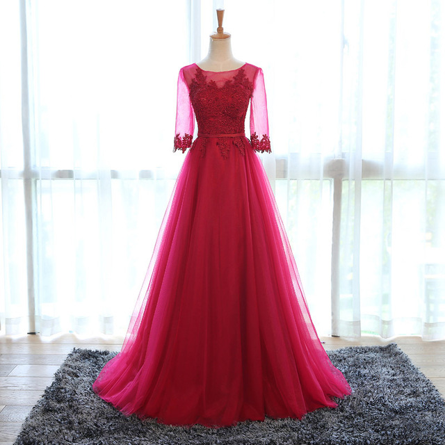 Middle Sleeve Prom Dress,Lace Prom Dress,A Line Prom Dress,Fashion Bridesmaids Dress,Sexy Party Dress, 2017 New Evening Dress