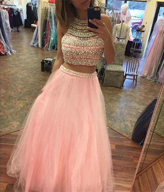 New Arrival Prom Dress,Modest Prom Dress,long pink mermaid prom dresses,two piece prom gowns with pearl beaded,sexy prom dress
