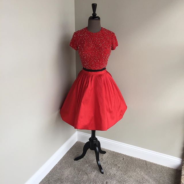 two piece homecoming dresses,short sleeves prom dress,beaded cocktail dress,red homecoming dress,sparkly dress,short prom dress 2017