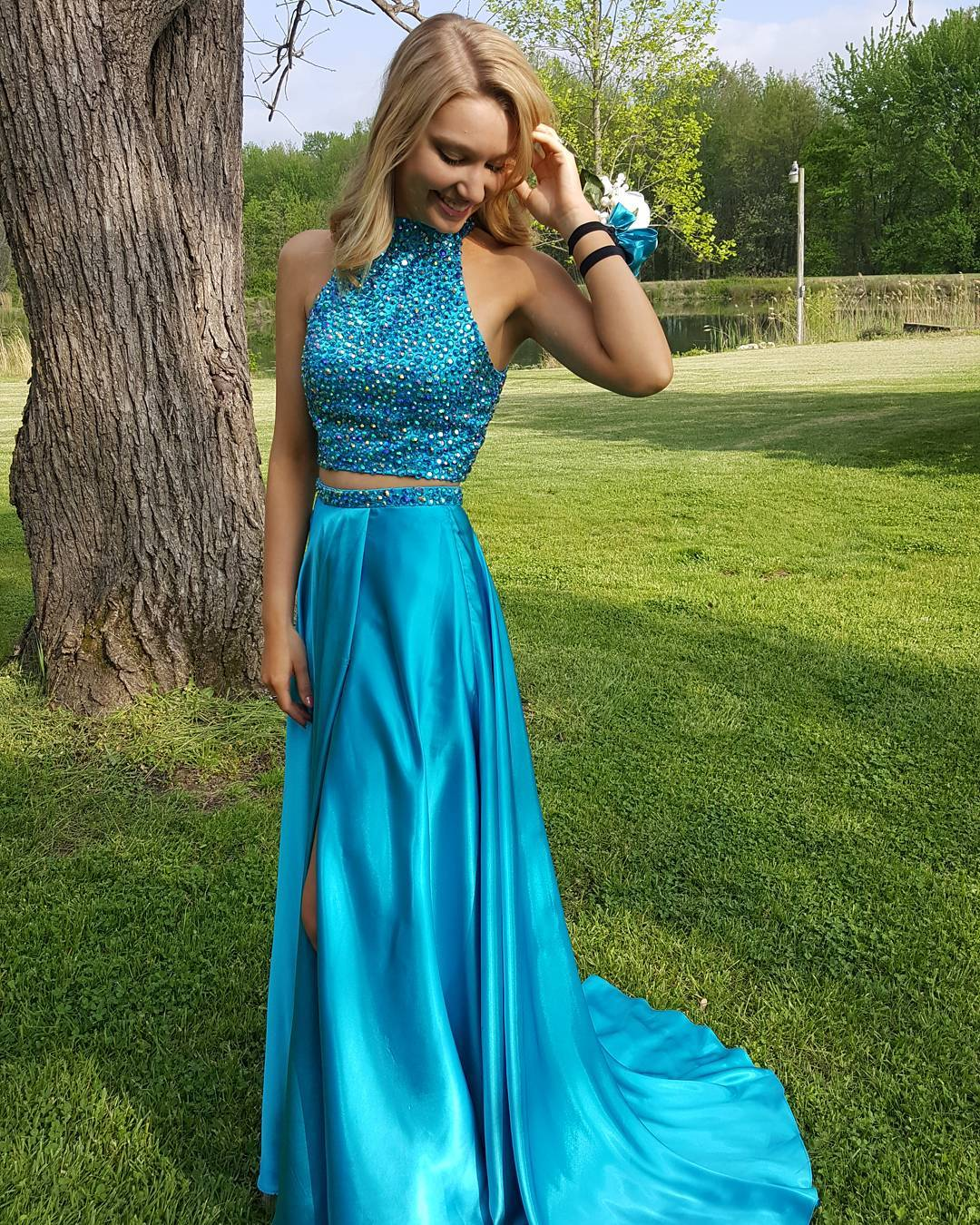 New Arrival Prom Dress,Modest Prom Dress,Pretty Two piece Prom Gowns,Blue Heavy Beading satin Prom Dresses,Sexy Evening Dresses,With Slit Prom Dresses,Sleeveless Evening Dresses