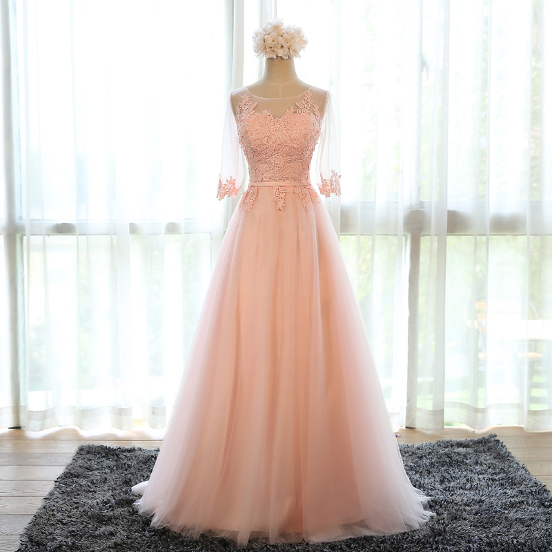 pink bridesmaid dress,chiffon evening dress,long prom dress,formal dress,women's long party dress