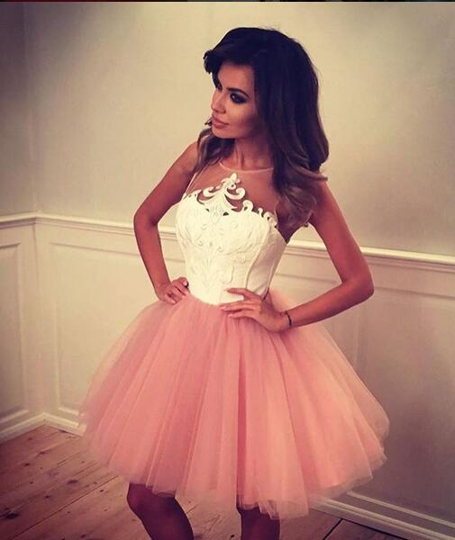 Pink Tulle Homecoming Dressapplique Homecoming Dressesshort Prom