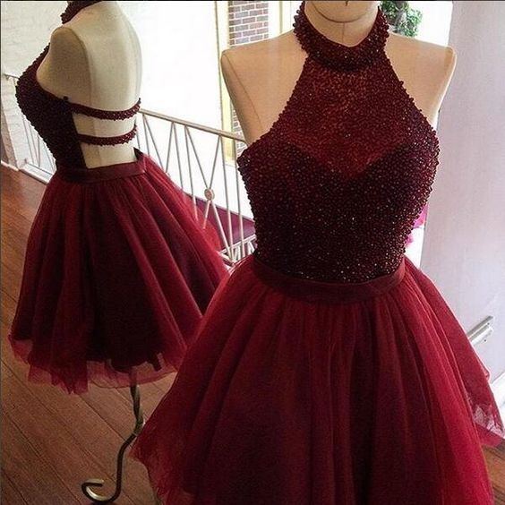 Sexy Red Short Prom Dress,Red Homecoming Dress, Burgundy A line Homecoming Dress,Beading Party Dress,Women Homecoming Dress,Charming Prom Homecoming Dress