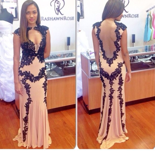 Black Lace Prom Dress c1577033c