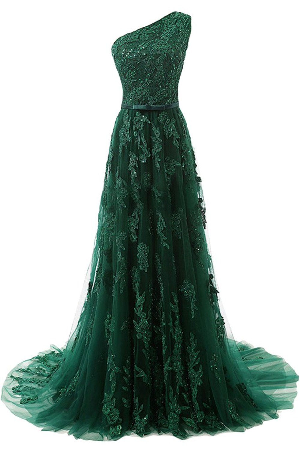 2cd61323ce06 Forest Green Lace Appliqués Tulle Floor Length Prom Dress Featuring One  Shoulder Bodice with Bow Accent Belt