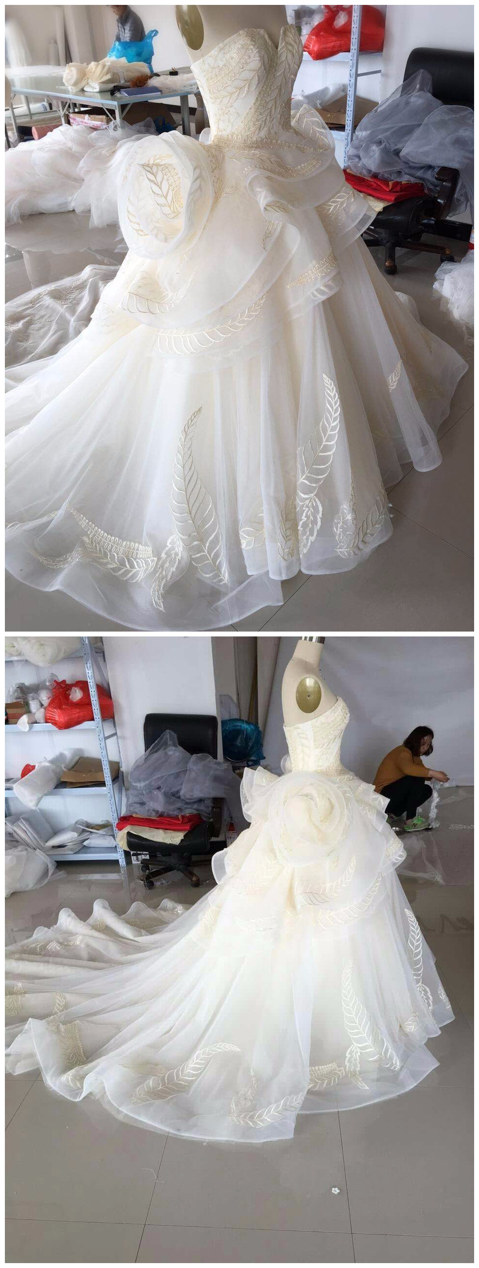 Real Photo Strapless Chapel Train Wedding Dress Organza&Tulle Illusion Fit And Flare Vestido de Novia Bridal Gown Size Plus