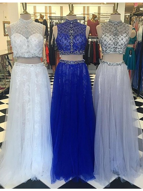 Modern High Neck Floor-Length Two Piece Prom Dress with Lace Beading
