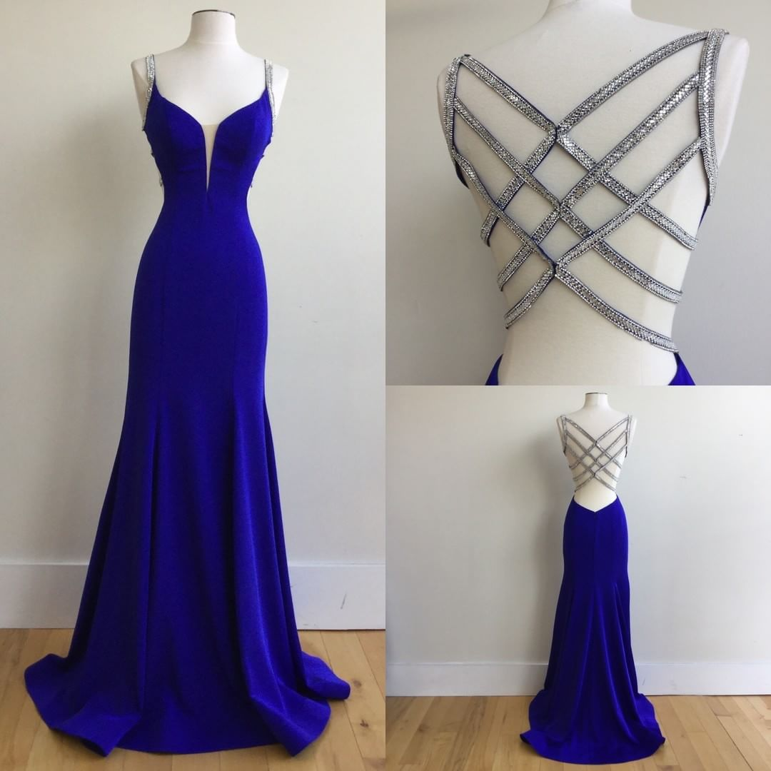Sexy Mermaid Spaghetti Straps Royal Blue Long Prom Dress with Beading