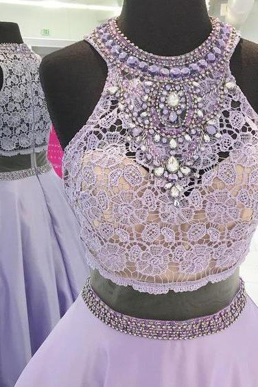Halter Prom Dresses,Lavender Prom Gowns,Lace Bodice Evening Gown,Two Pieces Prom Dresses,Beaded Long Prom Dresses,Senior Formal Dresses,2017 Sleeveless Prom Dress