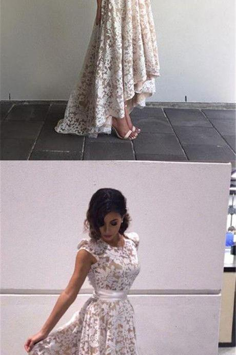 Elegant A-Line Scoop Cap Sleeves High-Low Ivory Asymmetrical Lace Prom Dress