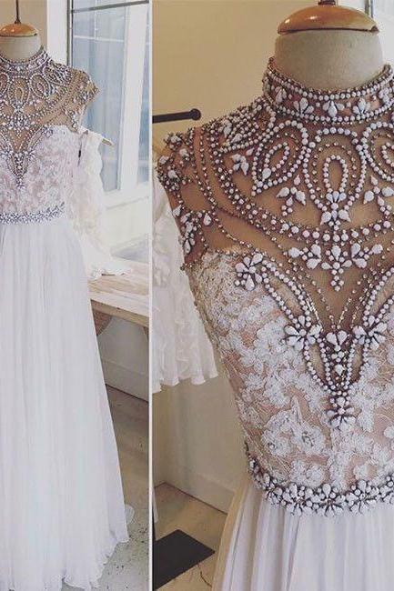 evening dress , evening gown , high neck evening dress , aline evening dress, white beadings evening dress , beadings evening dress , formal dress for women 2017 , new fashion evening dress ,elegant evening gown , gorgeous evening dress for women